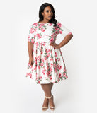 The Pretty Dress Company Plus Size White & Pink Vintage Rose Print Sleeved Hepburn Swing Dress