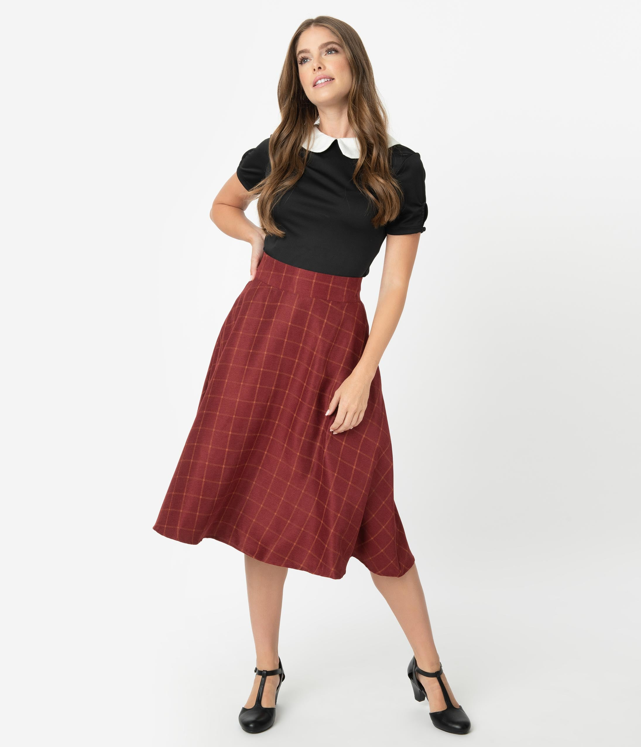 1940s Style Skirts- Vintage High Waisted Skirts Unique Vintage Retro Style Burgundy Windowpane High Waist Vivien Swing Skirt $58.00 AT vintagedancer.com