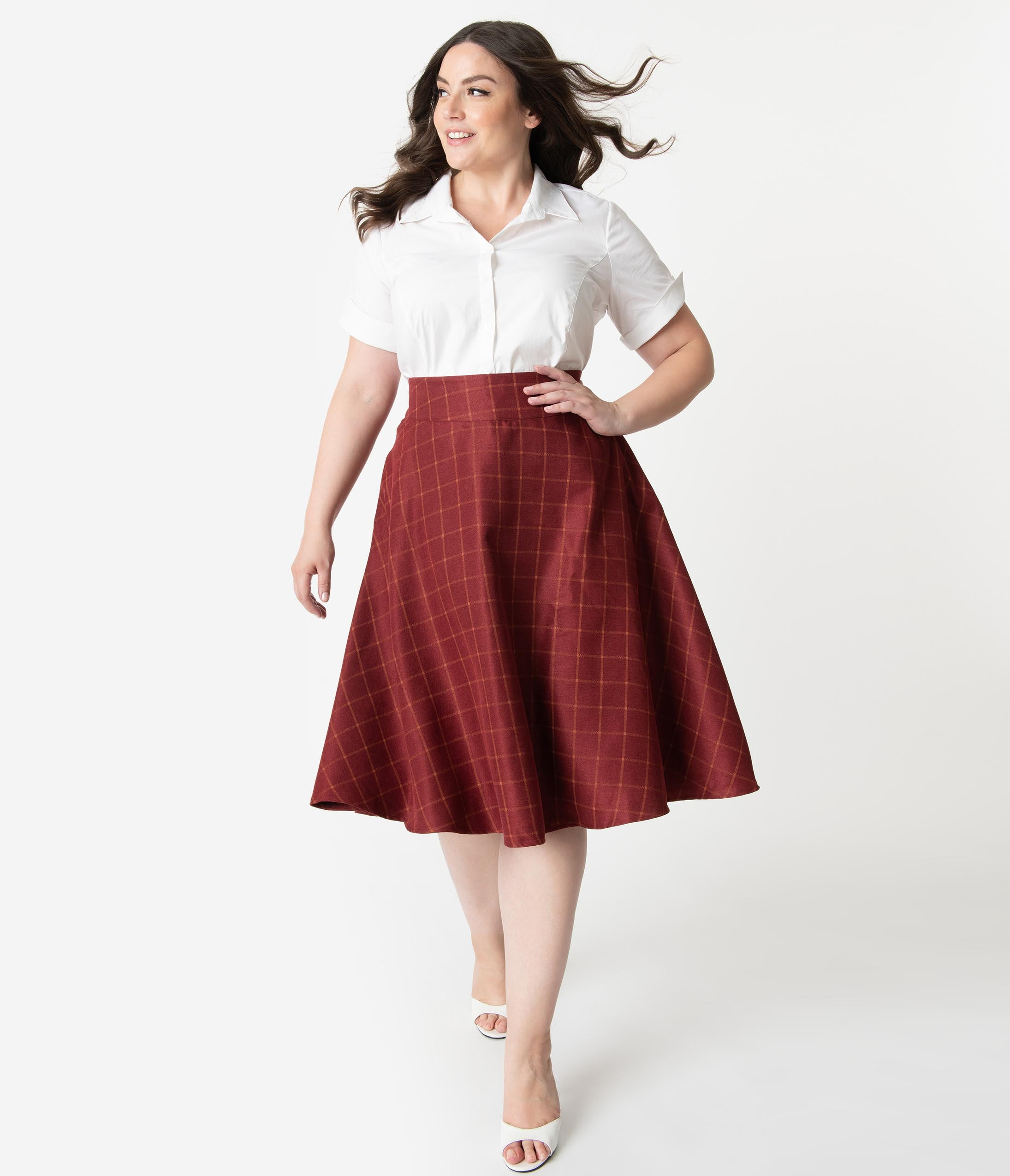 1940s Style Skirts- Vintage High Waisted Skirts Unique Vintage Plus Size Retro Style Burgundy Windowpane High Waist Vivien Swing Skirt $58.00 AT vintagedancer.com