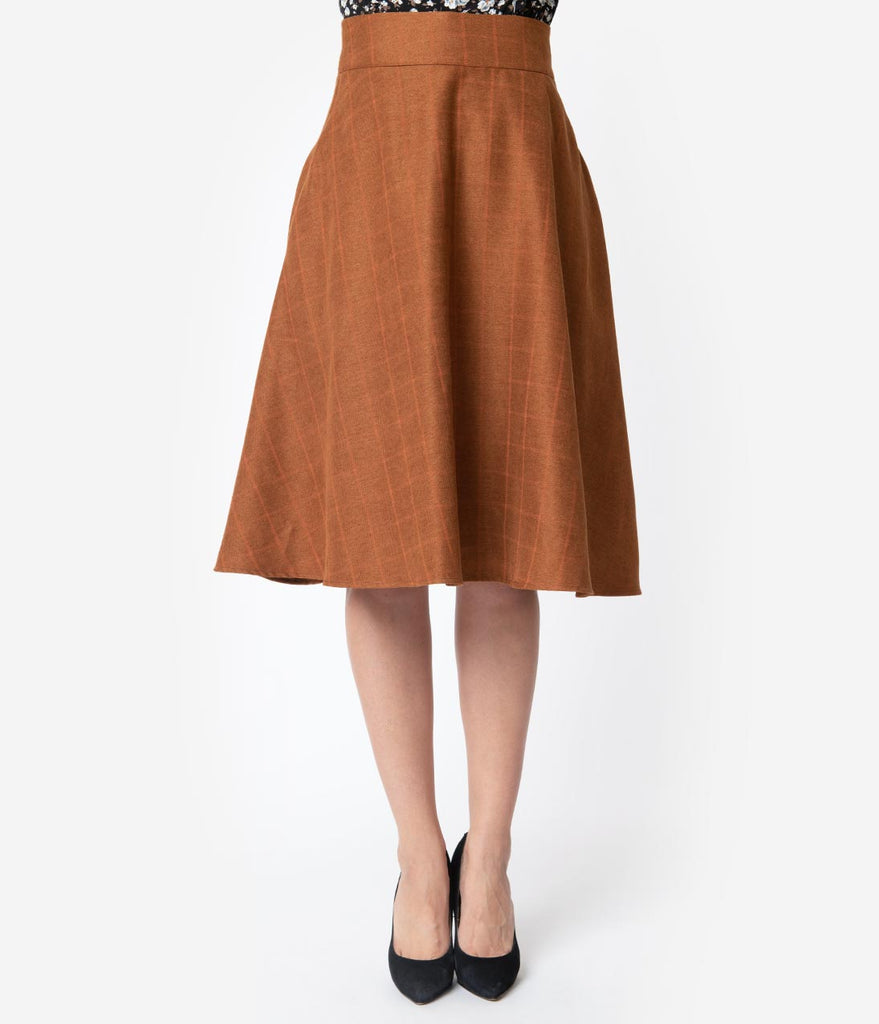 Unique Vintage Retro Style Brown Windowpane High Waist Vivien Swing Skirt