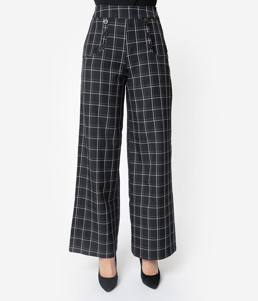Unique Vintage 1940s Style Black & White Windowpane High Waist Ginger Pants