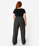 Unique Vintage Plus Size 1940s Style Black & White Windowpane High Waist Ginger Pants
