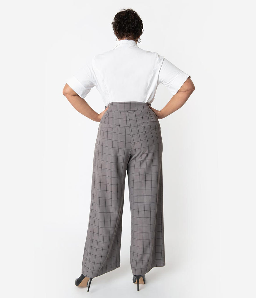 Unique Vintage Plus Size 1940s Style Grey Windowpane High Waist Ginger Pants