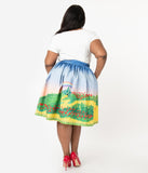 Unique Vintage Plus Size Yellow Brick Road Print High Waist Swing Skirt