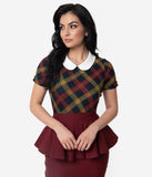 Unique Vintage 1950s Burgundy & Mustard Plaid High Collar Robin Blouse