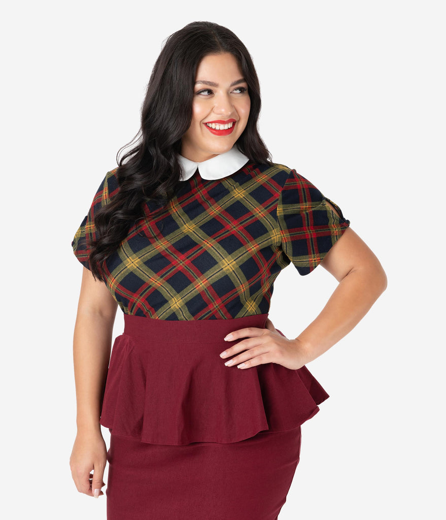 Unique Vintage Plus Size 1950s Burgundy & Mustard Plaid High Collar Robin Blouse