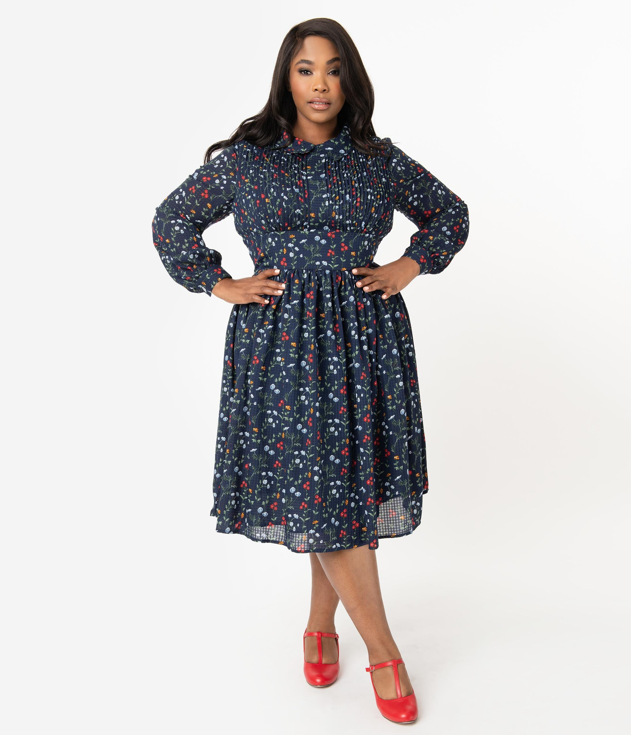 1950s Plus Size Dresses, Swing Dresses Unique Vintage Plus Size 1940S Style Navy  Multicolor Floral Deirdre Shirt Dress $118.00 AT vintagedancer.com