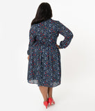 Unique Vintage Plus Size 1940s Style Navy & Multicolor Floral Deirdre Shirt Dress