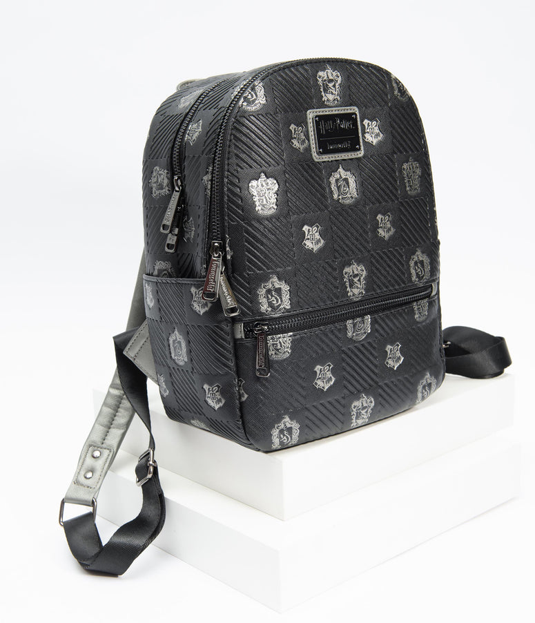 Loungefly Black Leatherette Harry Potter House Crest Mini Backpack