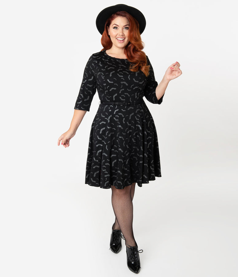 Unique Vintage Plus Size Black & Grey Bats Print Stephanie Fit & Flare Dress