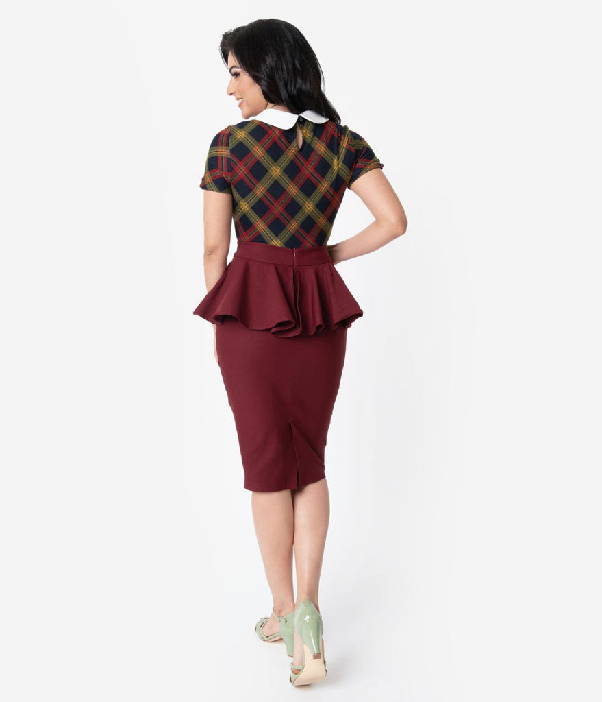 Unique Vintage 1940s Burgundy Stretch Peplum Boulevard Pencil Skirt