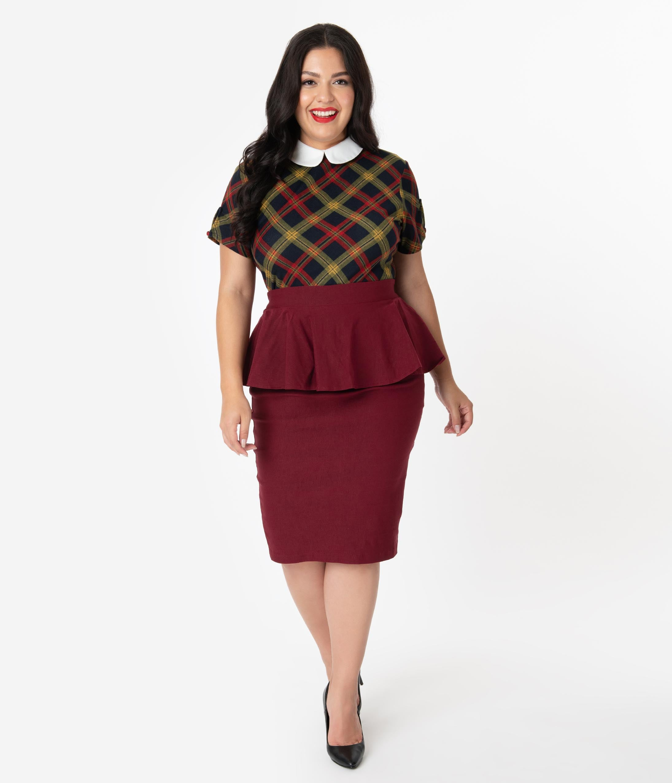 1940s Style Skirts- Vintage High Waisted Skirts Unique Vintage Plus Size 1940S Burgundy Stretch Peplum Boulevard Pencil Skirt $58.00 AT vintagedancer.com