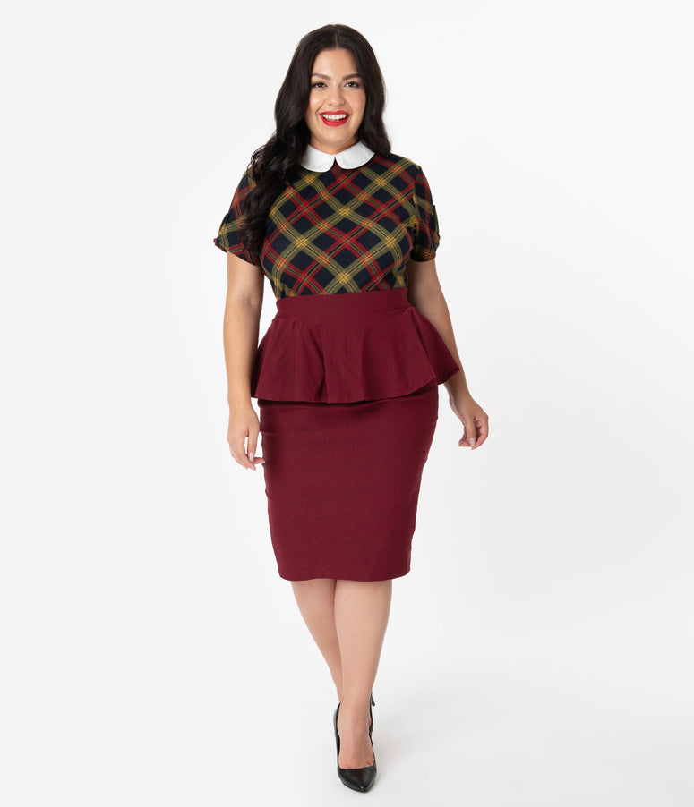 Unique Vintage Plus Size 1940s Burgundy Stretch Peplum Boulevard Pencil Skirt