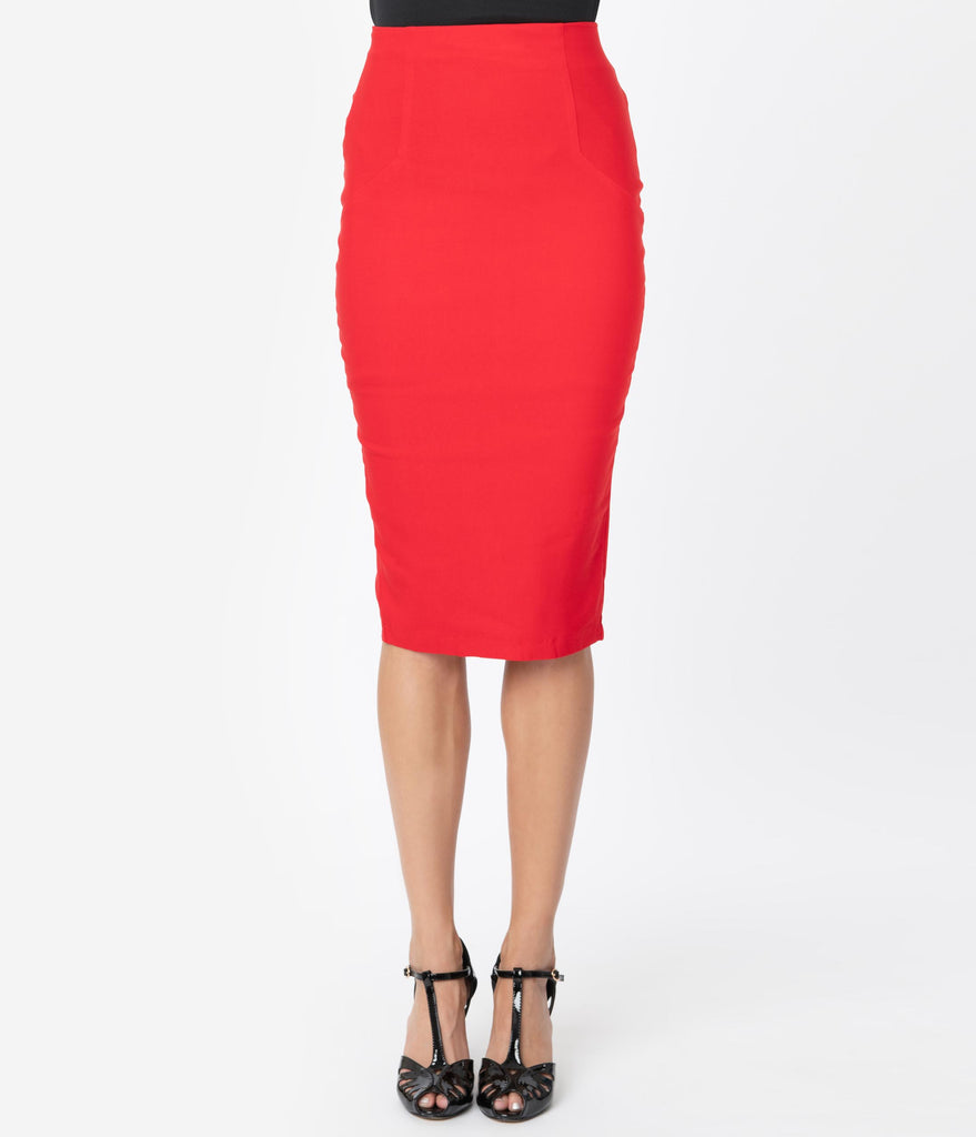 Unique Vintage Red Stretch High Waist Tracy Wiggle Skirt