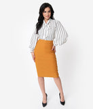 Unique Vintage Mustard Stretch High Waist Tracy Wiggle Skirt