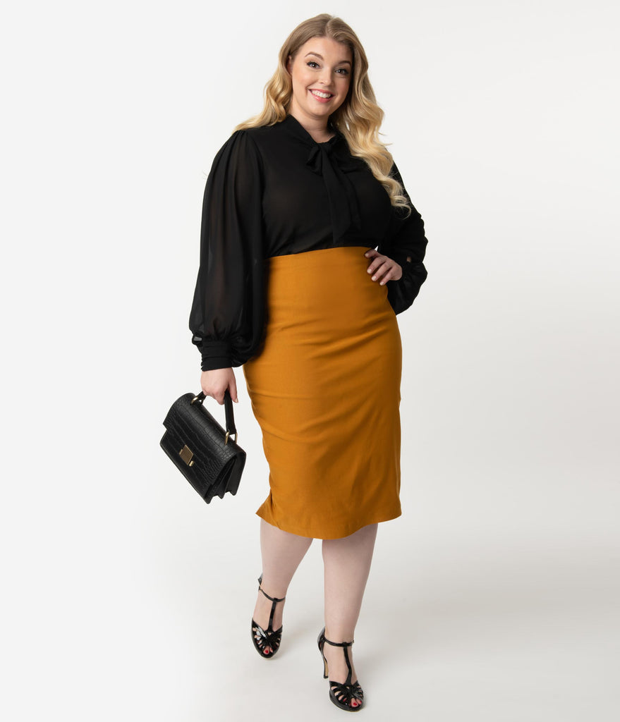 Unique Vintage Plus Size Mustard Stretch High Waist Tracy Wiggle Skirt