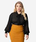 Unique Vintage Plus Size Black Crepe Neck Tie Gwen Blouse