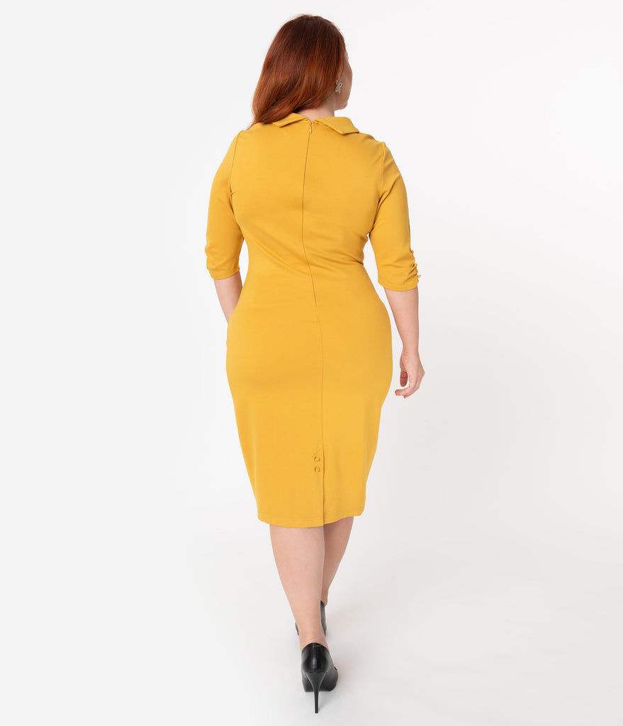 Unique Vintage Plus Size 1960s Retro Mustard Half Sleeve Cassidy Wiggle Dress