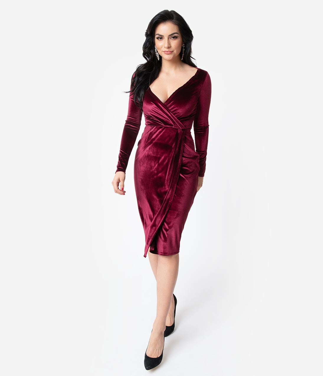 Vintage Christmas Gift Ideas for Women Unique Vintage Merlot Red Velvet Long Sleeve Damsel Wiggle Dress $98.00 AT vintagedancer.com