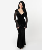 Unique Vintage Black Velvet Sheer Long Sleeve Carrie Mermaid Gown