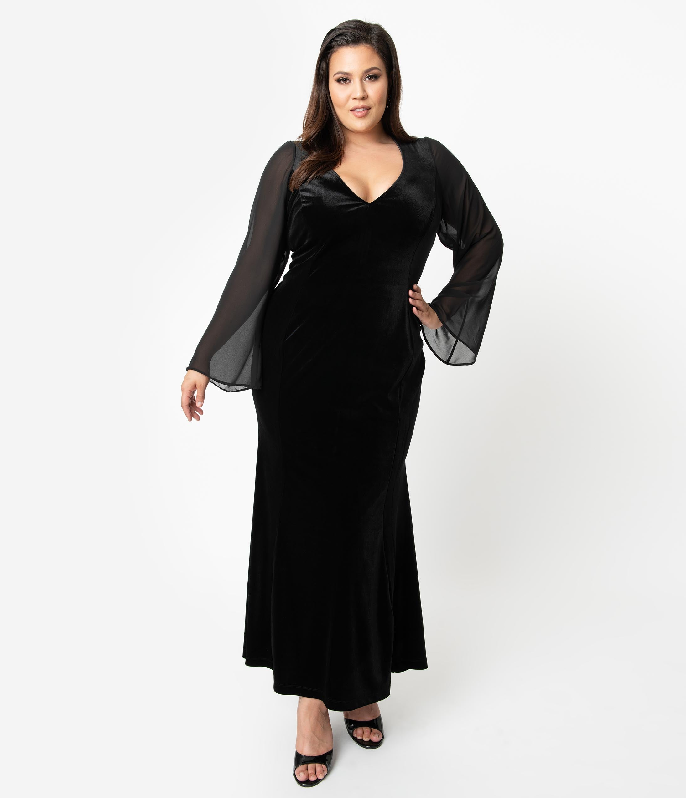 1950 Style Clothing- A Shopping Guide Unique Vintage Plus Size Black Velvet Sheer Long Sleeve Carrie Mermaid Gown $118.00 AT vintagedancer.com