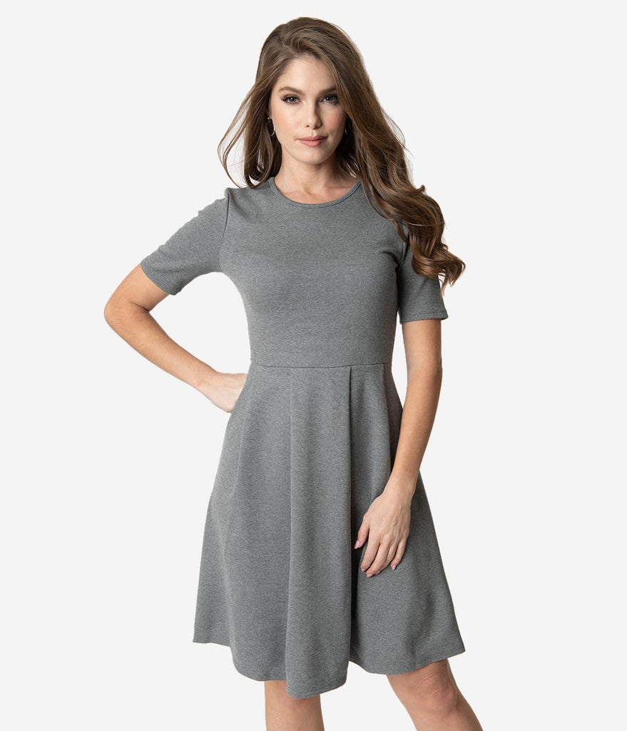 Heather Grey Ponte Short Sleeve Pleated Fit & Flare Dress