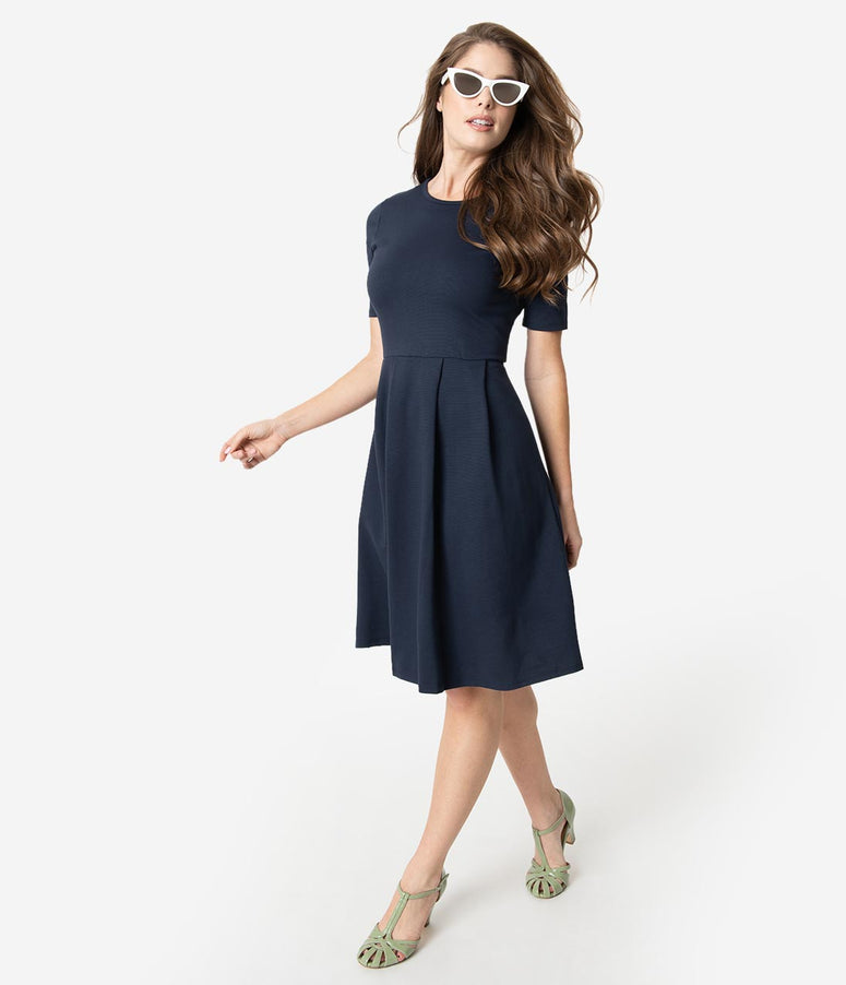 Navy Blue Ponte Short Sleeve Pleated Fit & Flare Dress