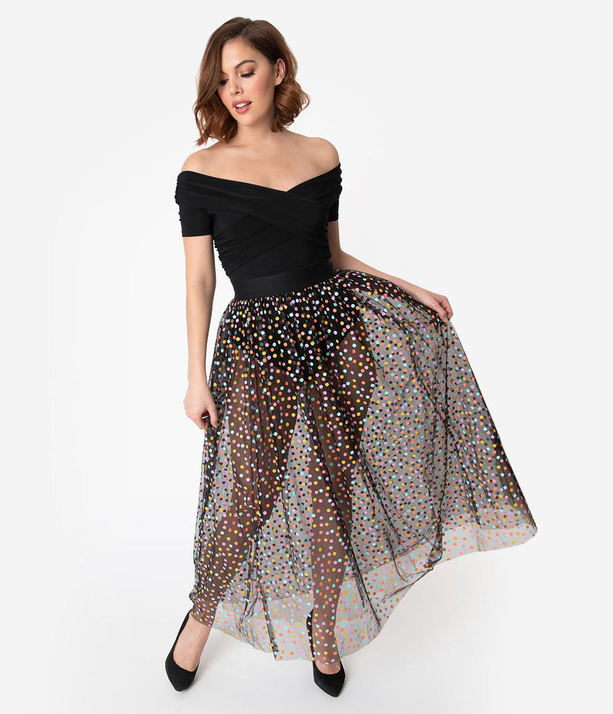 6e31864bc Black & Multicolor Polka Dot Mesh Tulle Kiara Long Skirt – Unique Vintage
