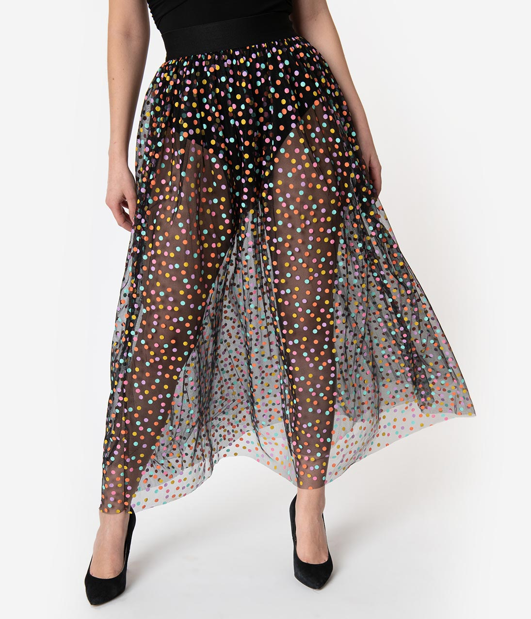 b78ac4ce138cc3 Black & Multicolor Polka Dot Mesh Tulle Kiara Long Skirt