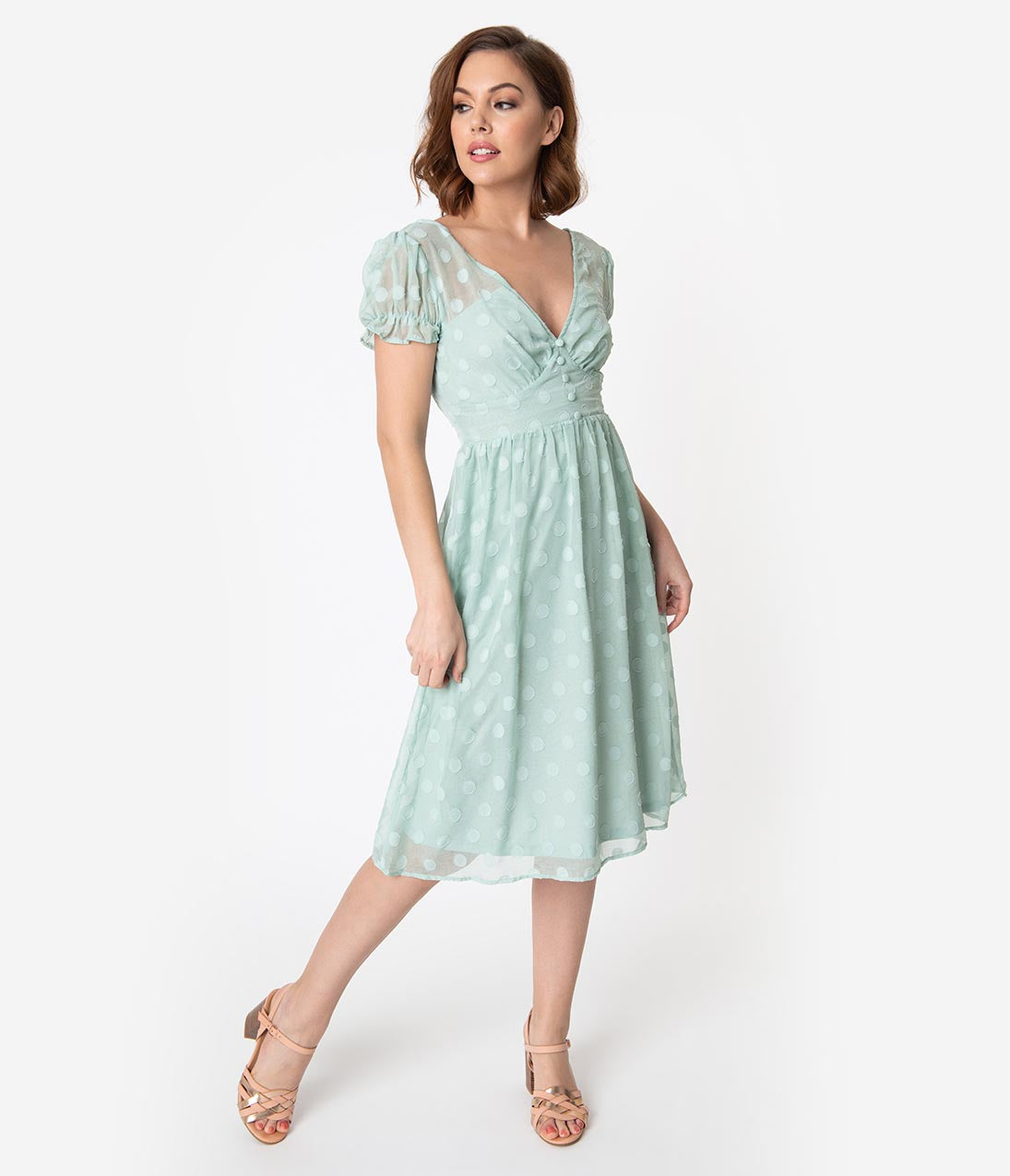 1940s Dresses | 40s Dress, Swing Dress Polka Dot Soft Textured Weave Fit  Flare Dress $58.00 AT vintagedancer.com