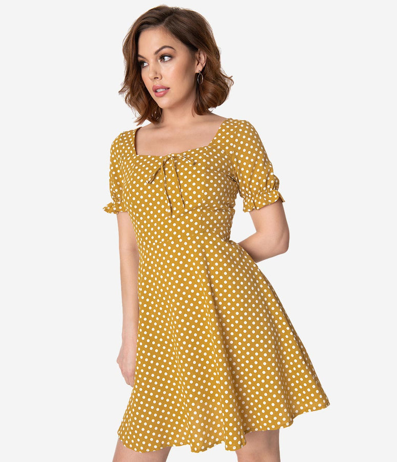 Straw & Ivory Polka Dot Ruffle Sleeve Fit & Flare Dress
