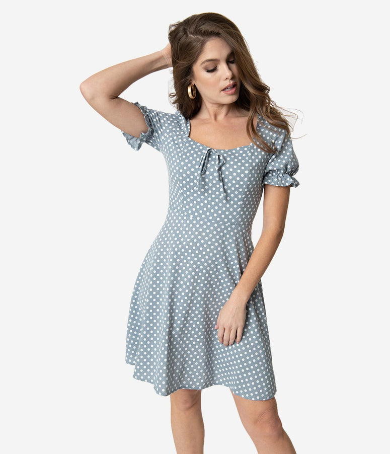 Dusty Blue & Ivory Polka Dot Ruffle Sleeve Fit & Flare Dress