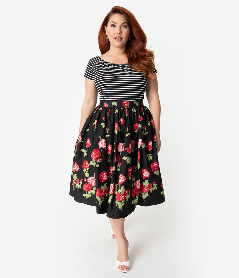 804684276e4 Hell Bunny Plus Size 1950s Style Black   Red Rose Print Antonia High Waist  Swing Skirt