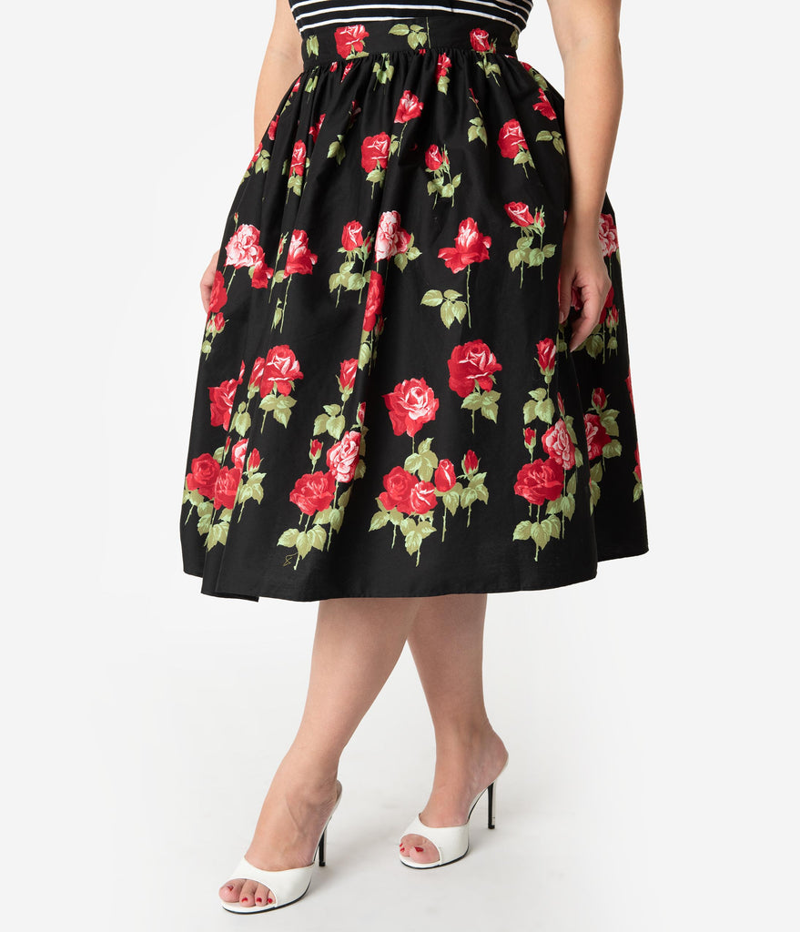 Hell Bunny Plus Size 1950s Style Black & Red Rose Print Antonia High Waist Swing Skirt