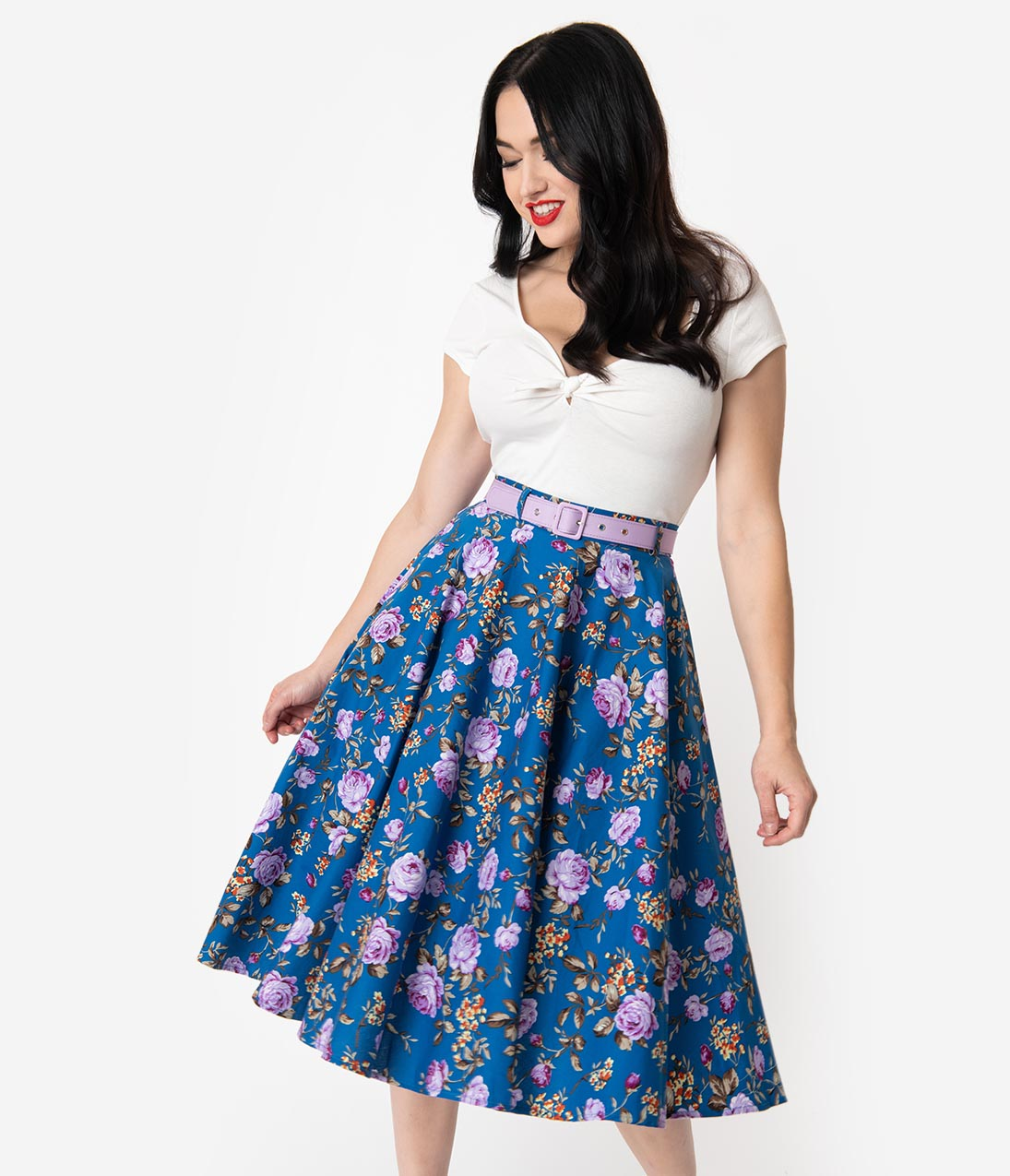 1950s Fashion History: Women's Clothing Hell Bunny 1950S Style Blue  Purple Floral High Waisted Violetta Swing Skirt $58.00 AT vintagedancer.com