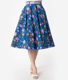 Hell Bunny 1950s Style Blue & Purple Floral High Waisted Violetta Swing Skirt