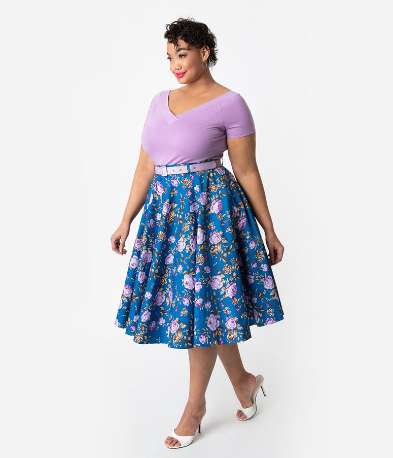 56739a5afed Hell Bunny Plus Size 1950s Style Blue   Purple Floral High Waisted Violetta  Swing Skirt