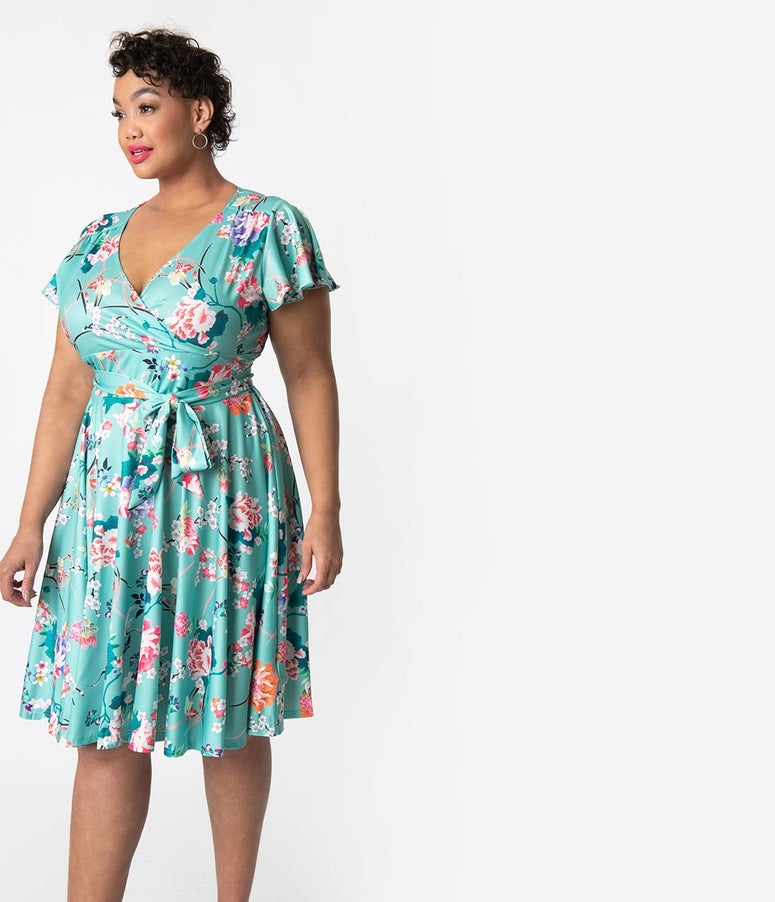 Hell Bunny Plus Size Mint   Pink Floral Cap Sleeve Midori Flare Dress b206e2447