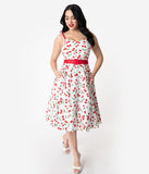 Hell Bunny 1950s White & Red Cherry Print Cotton Sweetie Swing Dress