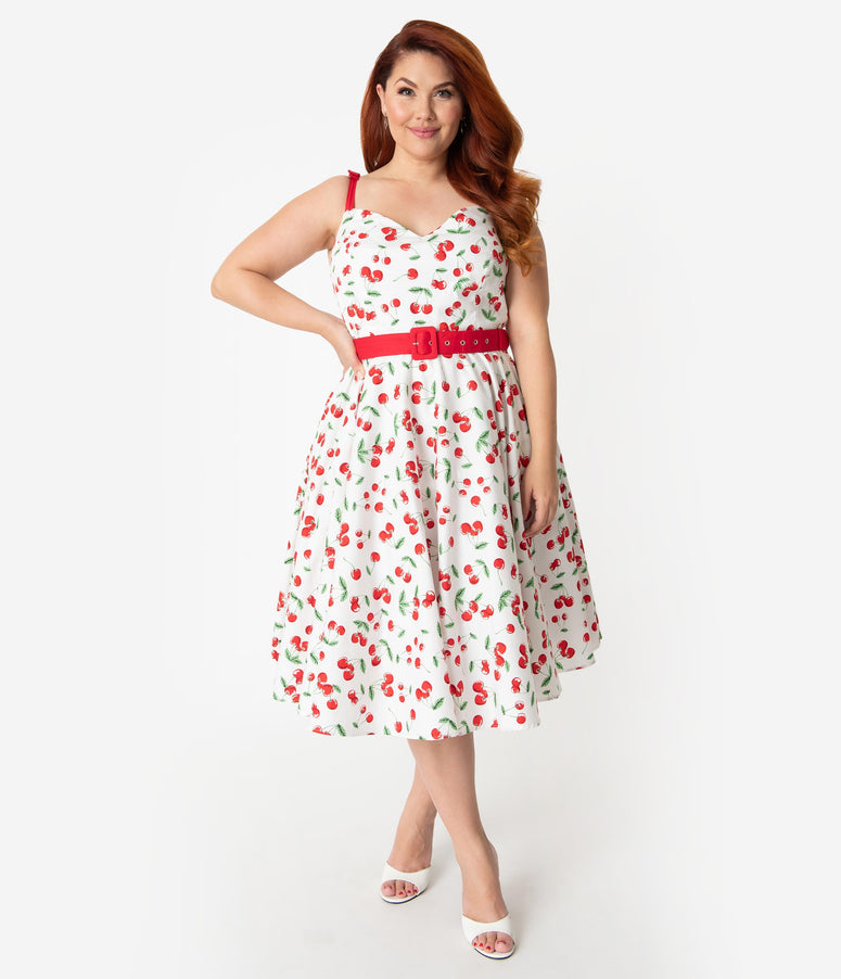4441506a0ce Hell Bunny Plus Size 1950s White   Red Cherry Print Cotton Sweetie Swing  Dress