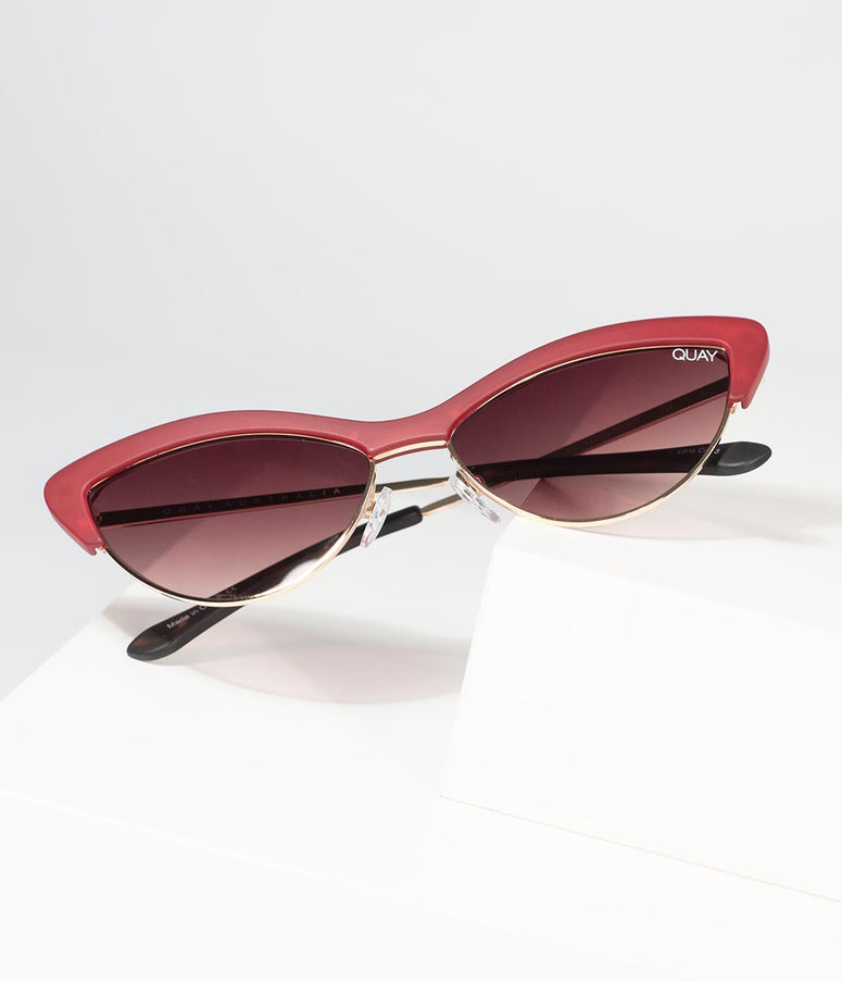 Quay Red All Night Cat Eye Sunglasses