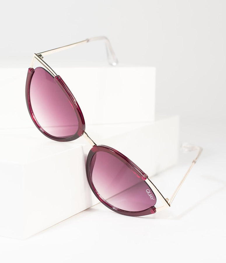 Quay Purple & Gold Hearsay Cat Eye Sunglasses