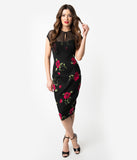 1950s Style Black & Red Rose Floral Print Cotton Karen Wiggle Dress