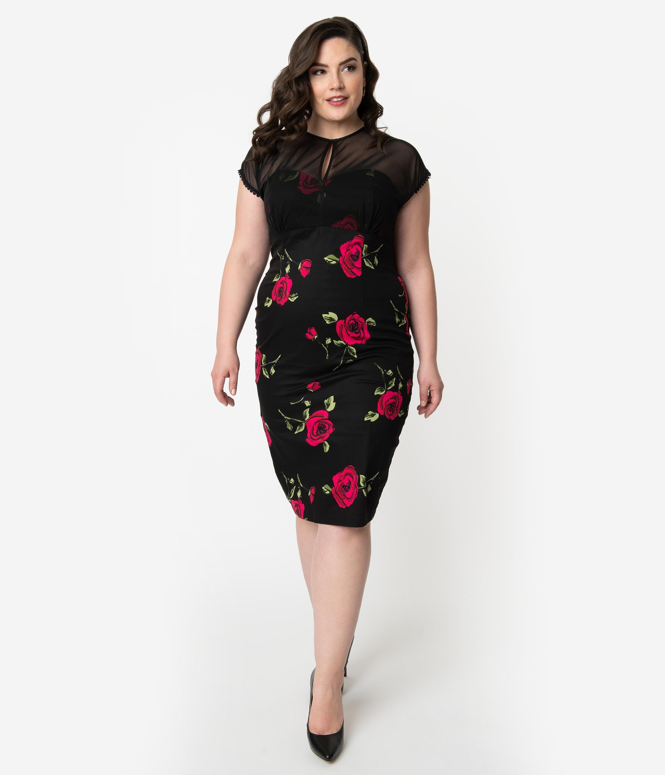 Plus Size Cap Sleeves Floral Print Cotton Cocktail Below the Knee Empire Waistline Pencil-Skirt Fitted Illusion Keyhole Applique Mesh Sheer Fall Dress