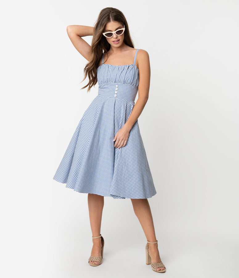 8cd8ac50829b9 Retro Style Light Blue   White Gingham Cotton Melissendre Swing Dress
