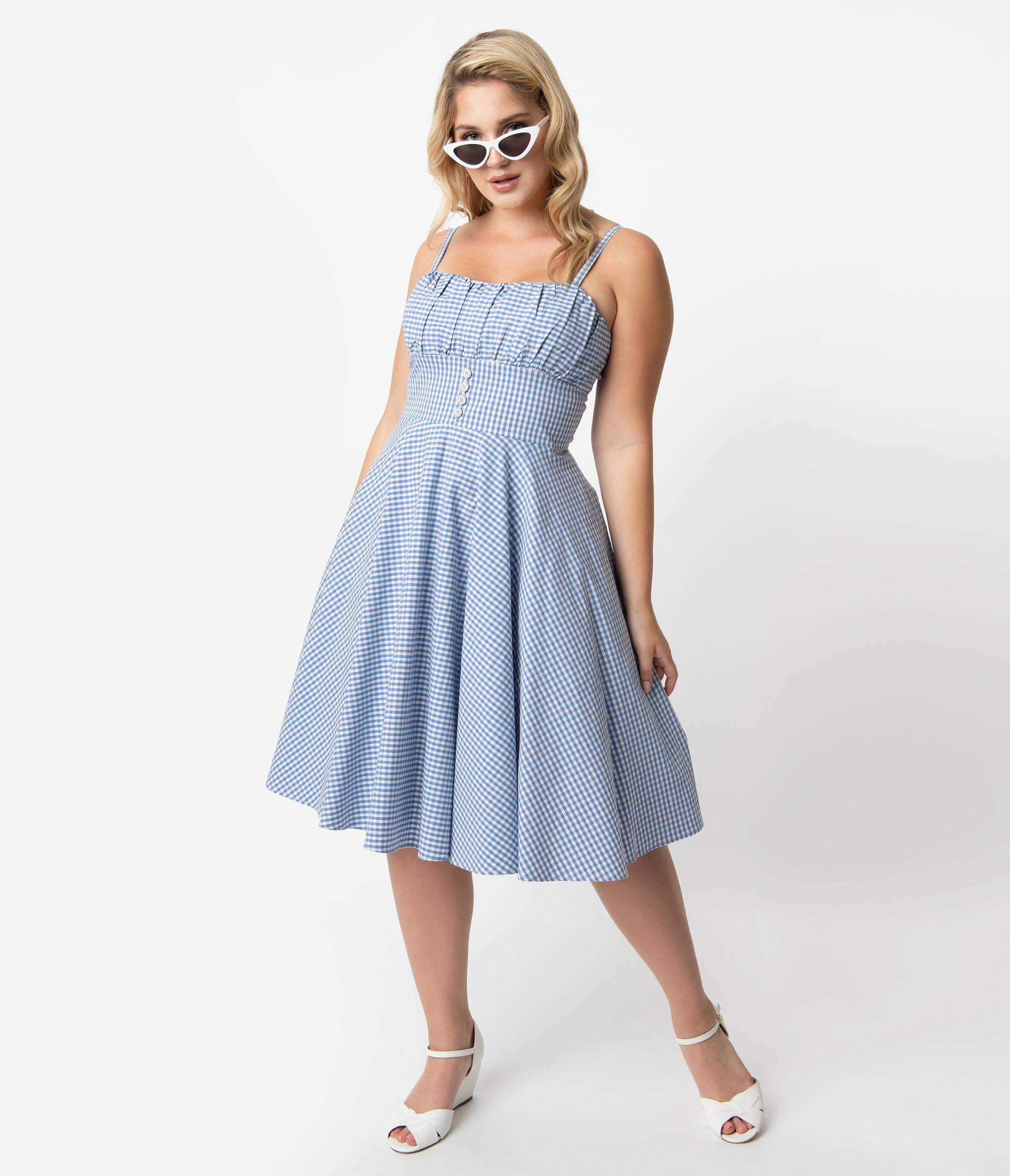 500 Vintage Style Dresses for Sale | Vintage Inspired Dresses Plus Size Retro Style Light Blue  White Gingham Cotton Melissendre Swing Dress $78.00 AT vintagedancer.com