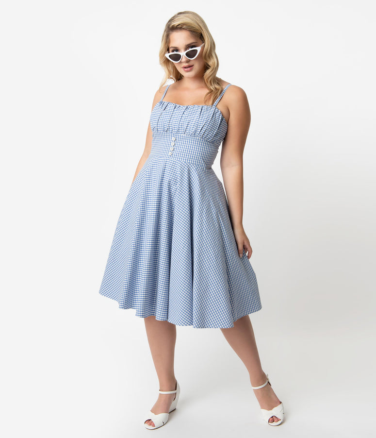 6bcbebf20 Plus Size Retro Style Light Blue   White Gingham Cotton Melissendre Swing  Dress