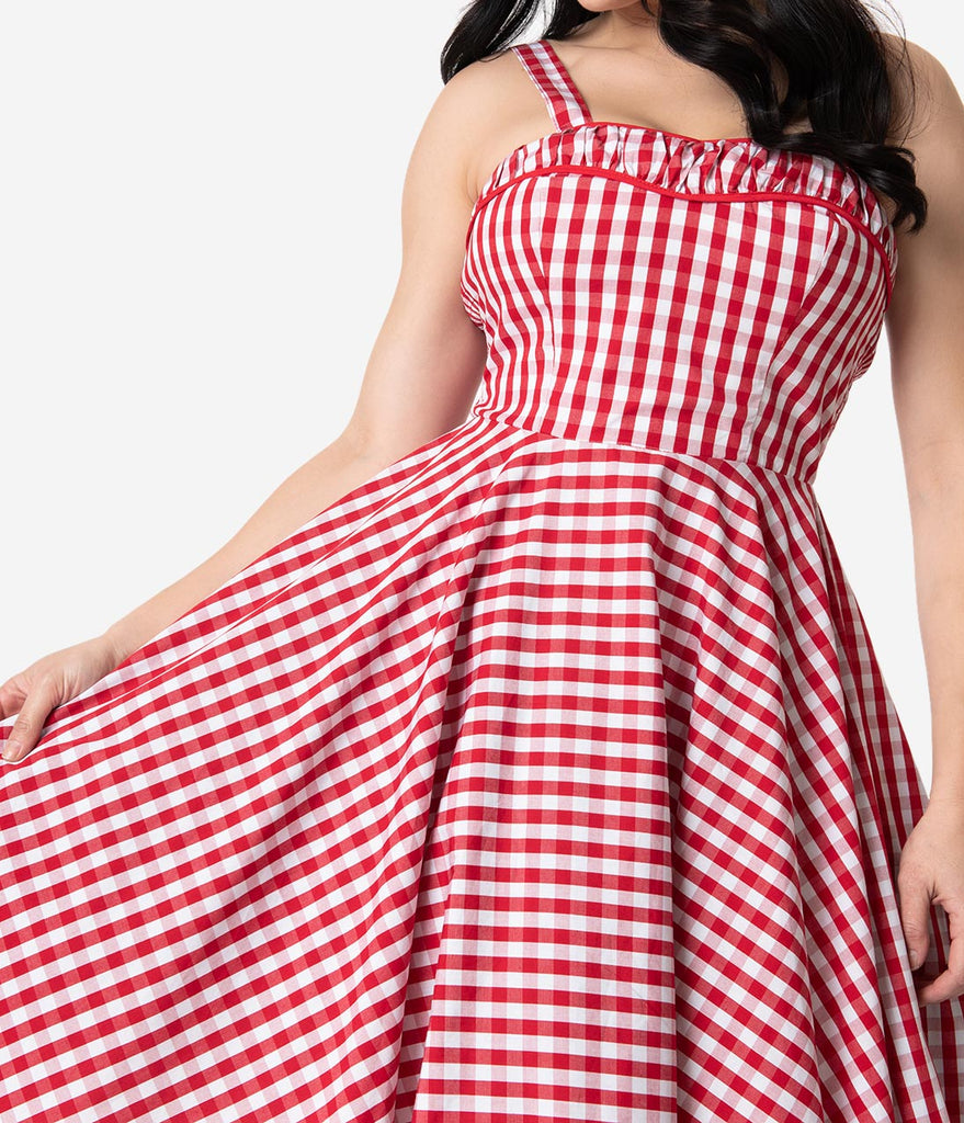 1950s Rockabilly Red & White Gingham Cotton Angie Swing Dress