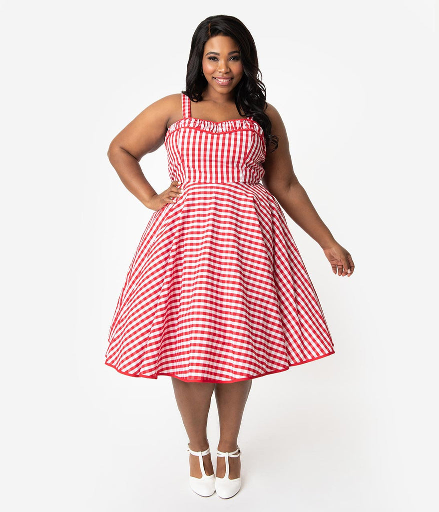 Plus Size 1950s Rockabilly Red & White Gingham Cotton Angie Swing Dress