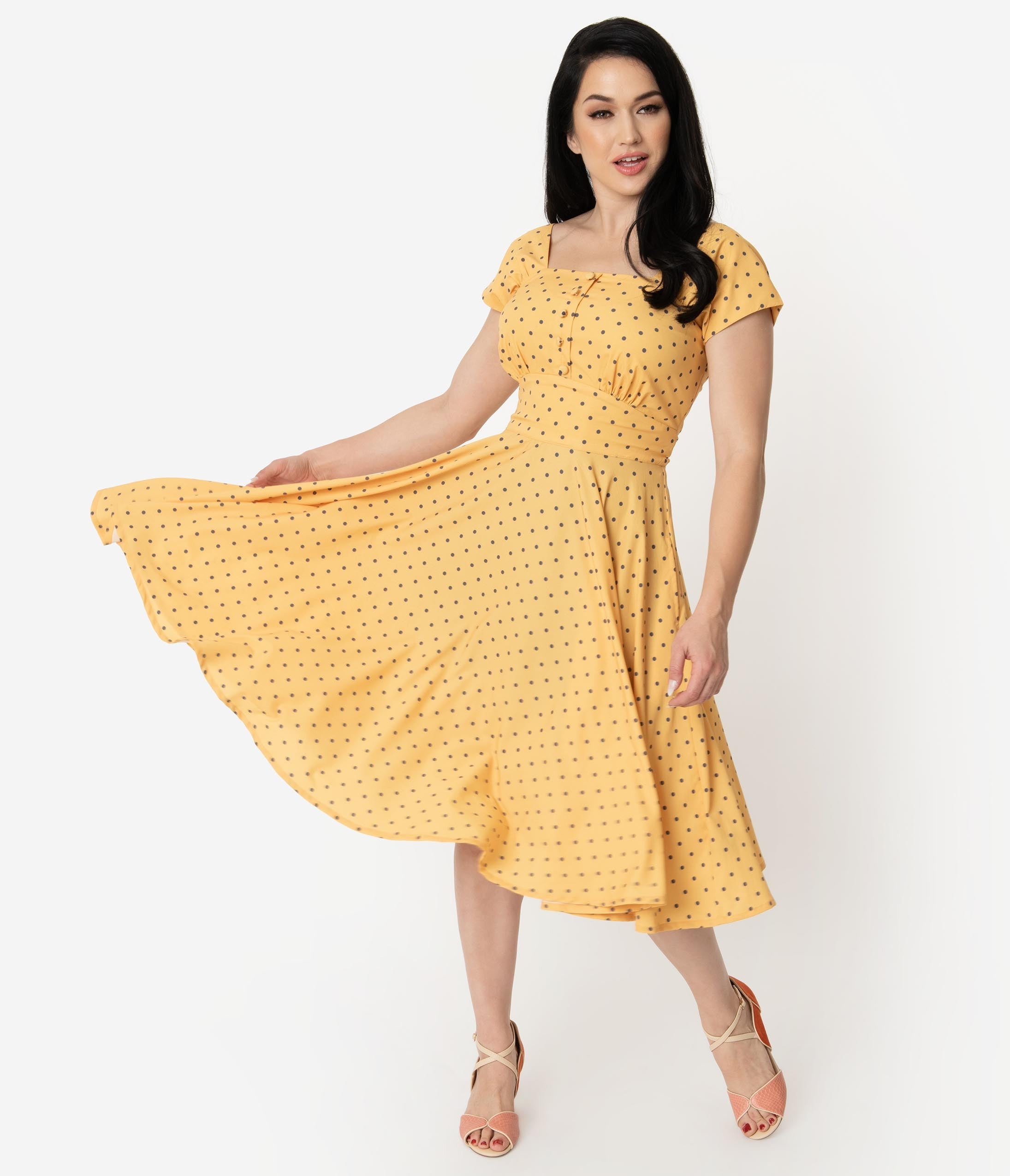 1940s Fashion Advice for Short Women 1940S Style Yellow  Grey Polka Dot Cap Sleeve Zafira Swing Dress $72.00 AT vintagedancer.com